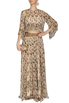 Ivory handpainted boho top with skirt and tube inner by Pallavi Jaipur