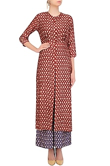 Red Ikkat Print Long Jacket With Blue Top and Flared Pants by Pallavi Jaipur