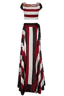 Red, Black and White Striped Crop Top With Matching Skirt by Pallavi Jaipur
