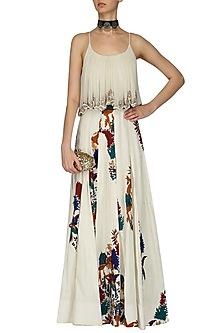 Ivory Shikara Applique Work Box Pleated Maxi Dress by Pallavi Jaipur