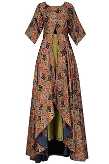 Multicolor Vintage Print Flared Tunic with Olive Wrap Pants by Pallavi Jaipur
