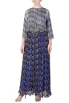 Blue Boho Top with Printed Skirt by Pallavi Jaipur