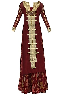 Maroon Anarkali Gown with Embroidered Kurta