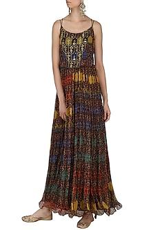 Brown Printed Balloon Maxi Dress by Pallavi Jaipur