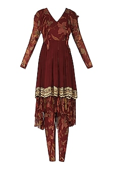 Maroon Layered Kurta with Printed Pants