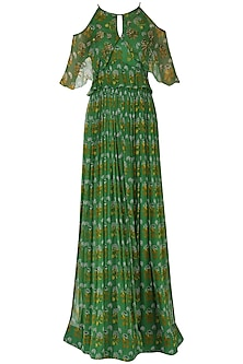 Leaf Green Cold Shoulder Maxi Dress
