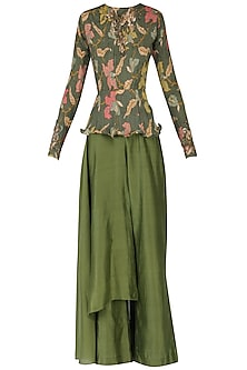 Henna Green Peplum Top with Drape Pants
