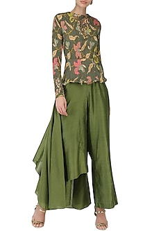 Henna Green Peplum Top with Drape Pants by Pallavi Jaipur