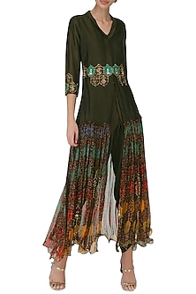 Brown Front Open Kurta with Pants by Pallavi Jaipur