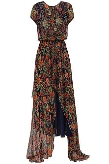 Midnight Blue High-Low Midi Dress