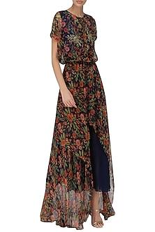 Midnight Blue High-Low Midi Dress by Pallavi Jaipur
