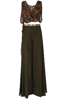 Brown Embroidered Top with Palazzo and Tie Over Layer Set