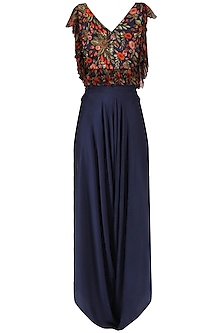 Midnight Blue Crop Top with Drape Pants