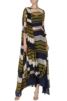 Olive Green and Navy Blue Printed Kurta with Pants by Pallavi Jaipur
