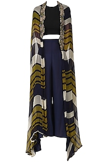Olive Green and Navy Blue Printed Cape