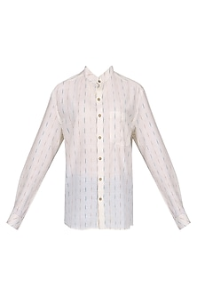 White Ikkat Mandarin Shirt by Pika Love