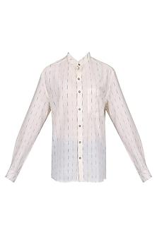 White Ikkat Mandarin Shirt