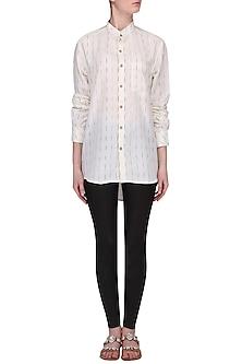 White Ikkat Mandarin Shirt by Pika Love