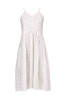 White Ikkat Slip Dress by Pika Love