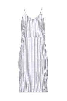 White Stripped Slip Dress