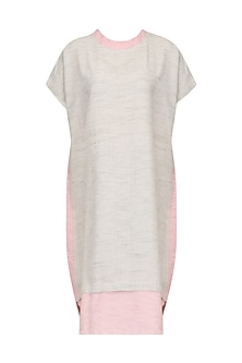 Grey and Pink High Low Tunic