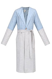 Grey and Blue Trench Jacket by Pika Love