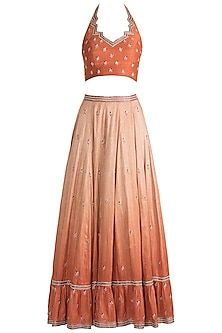 Orange Shaded Embroidered Lehenga Set by Pleats by Kaksha & Dimple