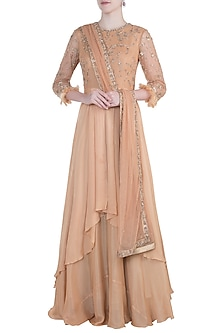 Orange embroidered anarkali set by PLEATS BY KAKSHA & DIMPLE