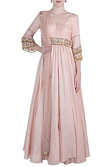 Pink embroidered anarkali set by PLEATS BY KAKSHA & DIMPLE