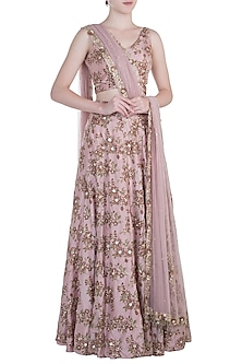 Pink embroidered lehenga set by PLEATS BY KAKSHA & DIMPLE