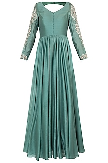 Green embroidered anarkali gown with dupatta