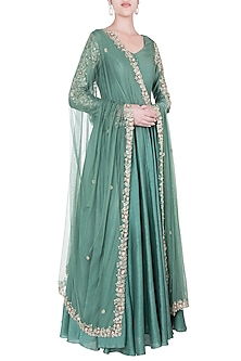 Green embroidered anarkali gown with dupatta by Pleats by Kaksha & Dimple