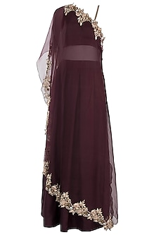 Wine embroidered cape with crop top and skirt