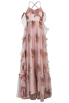 Pink embroidered printed gown