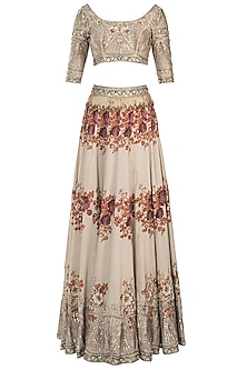 Ivory embroidered printed lehenga set
