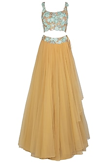 Mustard and Turquoise Embroidered Lehenga Set by Peppermint Diva