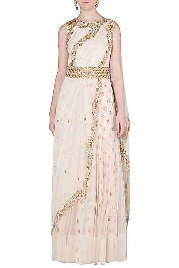 Cream Printed and Embroidered Anarkali Gown by Peppermint Diva