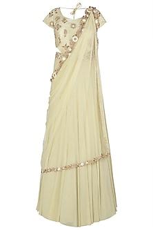 Light Green Cut Work Anarkali Gown with Belt
