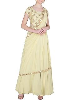 Light Green Cut Work Anarkali Gown with Belt by Peppermint Diva