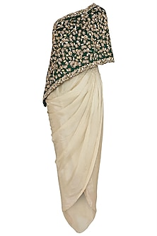 Green Embroidered Cape with Dhoti Pants by Peppermint Diva