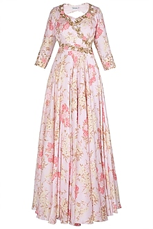 Baby Pink Printed and Embroidered Anarkali Gown Set