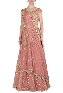 Rose Pink Embellished Lehenga Set by Peppermint Diva
