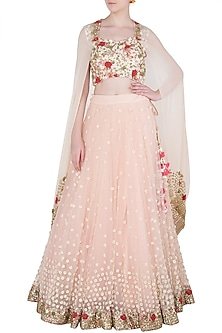 Baby Pink Grecian Lehenga Set by Peppermint Diva