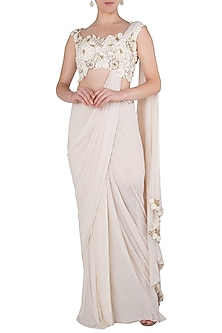 Cream Embroidered Cut Work Saree with Blouse by Peppermint Diva