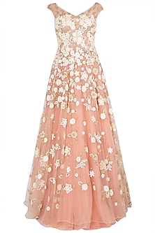Pink Cut Work Heavy Gown