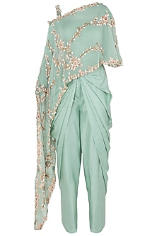 Turquoise Embroidered Fish Cut Cape with Dhoti Pants