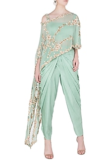 Turquoise Embroidered Fish Cut Cape with Dhoti Pants by Peppermint Diva