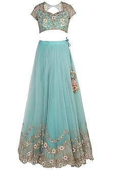 Turquoise Three Layered Lehenga Set