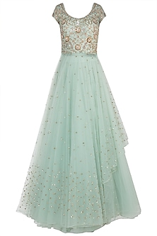 Turquoise Embroidered Anarkali Gown Set