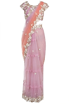 Lavender Shaded Embroidered Saree Set